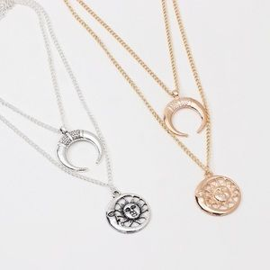 Jewelry - Sun & Moon Face Crescent Layered Necklaces!! (NWT)